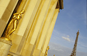 Trocadero Framed Prints - Gold statue . Trocadero. Paris Framed Print by Bernard Jaubert