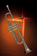 Trumpet Art - Gold Trumpet with Cross on Orange by M K  Miller