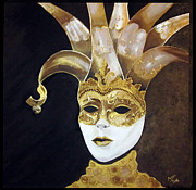 Venice Mixed Media Originals - Gold Venice Mask by Mireille Yaacoub
