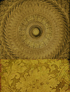 Gold Mountain Mixed Media Framed Prints - Gold Wheel I Framed Print by Ricki Mountain