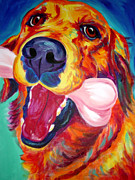 Dawgart Painting Originals - Golden - My Favorite Bone by Alicia VanNoy Call