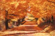 Acrylic On Canvas Painting Framed Prints - Golden Autumn Framed Print by David Lloyd Glover