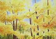 Autumn Landscape Painting Originals - Golden Autumn by Deborah Ronglien