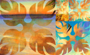 Golds Mixed Media Prints - Golden Autumn Print by Hanako Hawaii