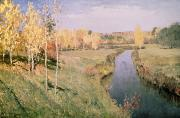 1860 Framed Prints - Golden Autumn Framed Print by Isaak Ilyich Levitan
