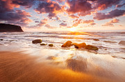 Irakli Prints - Golden Beach Print by Evgeni Dinev