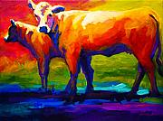 Barns Posters - Golden Beauty - Cow and Calf Poster by Marion Rose