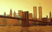 Brooklyn Bridge Drawings - Golden Big Apple New York by Peter Art Prints Posters Gallery