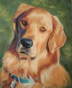 Retriever Pastels Posters - Golden Boy Poster by Billie Colson