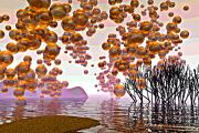 Haze Digital Art Prints - Golden Bubbles Print by Alexandra Cook