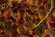 Colorful Beads Posters - Golden Bubbles Poster by Barbara  White