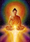 Cosmic Prints - Golden Buddha Blessings Print by Caroline Jamhour