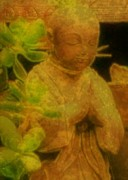 Buddha Statue Prints - Golden Buddha Print by Jen White