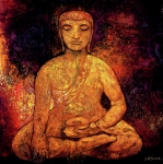 Buddhism Paintings - Golden Buddha by Shijun Munns