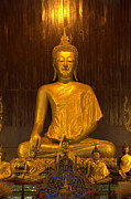 Praying Photo Originals - Golden Buddha Statue  by Anek Suwannaphoom
