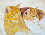 Joseph Palotas Art - Golden Cats by Joseph Palotas