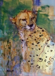 Wax Mixed Media Posters - Golden Cheetah Poster by Michelle Philip