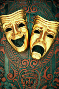Human Tragedy Posters - Golden Comedy And Tragedy Masks On Patterned Leather Poster by David Muir