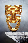 Arts Edge Posters - Golden Comedy Mask On Edge Poster by David Muir