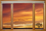 Landscape Picture Framed Prints - Golden Country Sunrise Window View Framed Print by James Bo Insogna