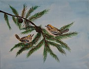 Pine Cones Originals - Golden Crowned Kinglets by Leslie Allen