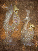Cocks Acrylic Prints - Golden Crowns Acrylic Print by Cindy Wright