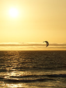 Kite Surfing Metal Prints - Golden Day Metal Print by Ernie Echols