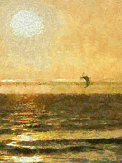 Kite Surfing Metal Prints - Golden Day Painterly Metal Print by Ernie Echols
