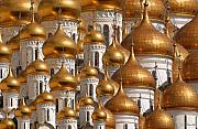Golden Digital Art Prints - Golden Domes Print by Joe Bonita