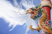 Animal Sculpture Digital Art Posters - Golden dragon with cloud background Poster by Anek Suwannaphoom