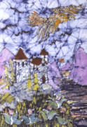 Purple Flowers Tapestries - Textiles Posters - Golden Eagle Flies Above Castle Poster by Carol  Law Conklin