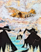 Mountains Tapestries - Textiles Posters - Golden Eagle Flies Above Clouds and Mountains Poster by Carol  Law Conklin
