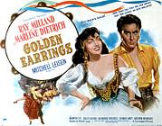 Golden Earrings, Marlene Dietrich, Ray Print by Everett