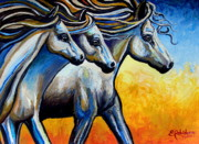Mustang Mixed Media - Golden Embers by Elizabeth Robinette Tyndall