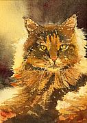 Backlit Painting Framed Prints - Golden-Eyed Cat 2 Framed Print by Ally Benbrook