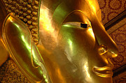The Buddha Metal Prints - Golden Face Of Buddha Metal Print by Bob Christopher