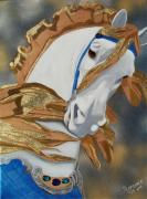 Carousel Horse Painting Framed Prints - Golden Fantasy Framed Print by Debbie LaFrance