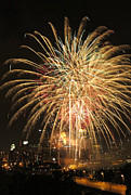 Fireworks Prints - Golden Fireworks Over Minneapolis Print by Heidi Hermes
