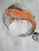 Golden Fish Painting Posters - Golden fish - one wish Poster by Ema Dolinar Lovsin