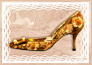 Stilettos Paintings - Golden Floral Royalty Shoe by Elaine Plesser