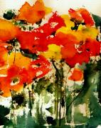 Roses Poppies Paintings - Golden Garden by Anne Duke