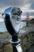 High Dynamic Range Photo Prints - Golden Gate Binoculars Print by Peter Tellone
