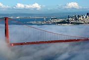 San Francisco Giant Prints - Golden Gate Bridge and Downtown San Francisco Print by Jeff Lowe