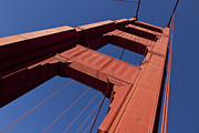 America Tapestries Textiles Framed Prints - Golden Gate Bridge at an angle Framed Print by Garry Gay