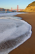 Sand Acrylic Prints - Golden Gate Bridge At Sunset Acrylic Print by Sean Stieper
