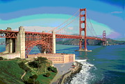 Sausalito Prints - Golden Gate Bridge Bay Side Print by Padre Art