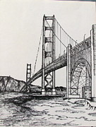Bridge Drawings - Golden Gate Bridge by Carol Nistle