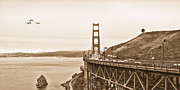Rte 1 Framed Prints - Golden Gate Bridge in Sepia Framed Print by Betty LaRue