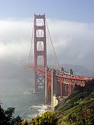 Suspension Bridge Metal Prints - Golden Gate Bridge in the fog Metal Print by Mathew Lodge