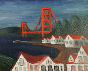 Sausalito Painting Posters - Golden Gate Bridge Poster by Kyle McGuigan